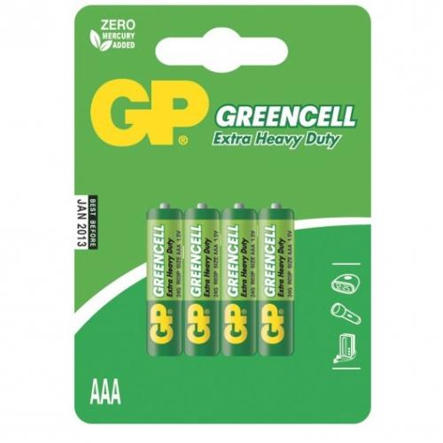 Baterie zinkochloridová GP Greencell AAA, R03, blistr 4ks