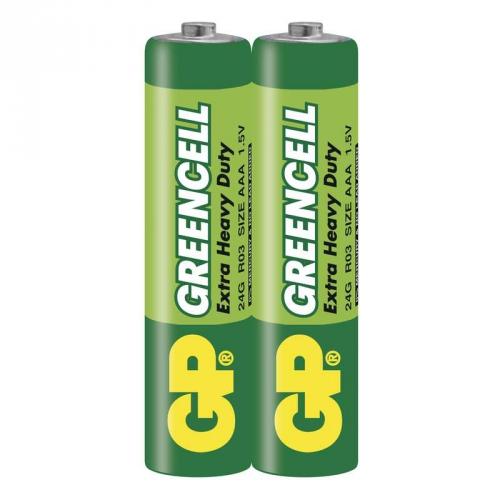 Baterie zinkochloridová GP Greencell AAA, R03, fólie 2ks