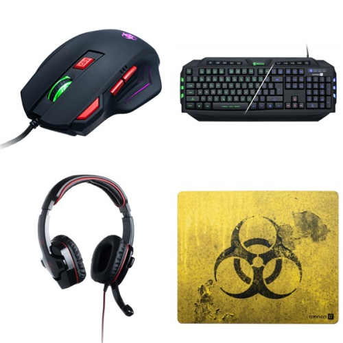 Set (Podložka pod myš Connect IT Biohazard CI-194) + (Headset Connect IT Biohazard GH 2000) + (Myš Connect IT Biohazard Biohazard) + (Klávesnice Connect IT Biohazard GK2000, CZ)