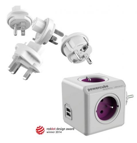 Powercube ReWirable USB + Travel Plugs - fialový
