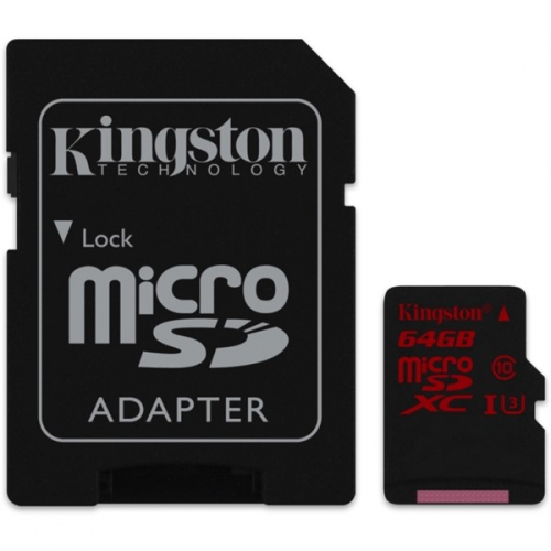 Kingston 64GB UHS-I U3 (90R/80W) + adapter