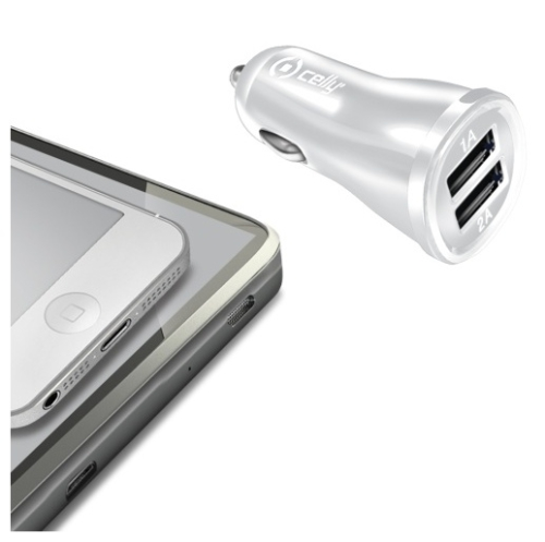 Celly 2x USB, 2,1A bílý