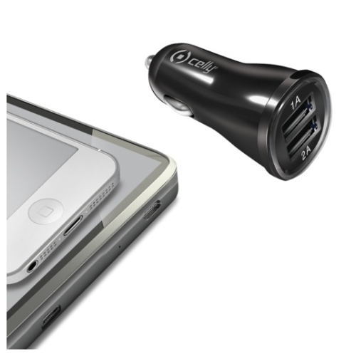 Celly 2x USB, 2,1A černý