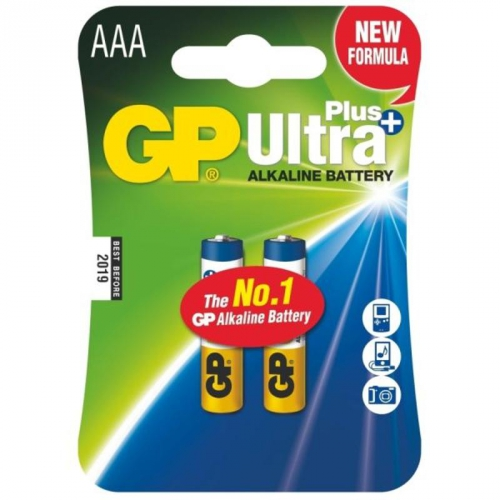 Baterie alkalická GP Ultra Plus AAA, LR03, blistr 2ks