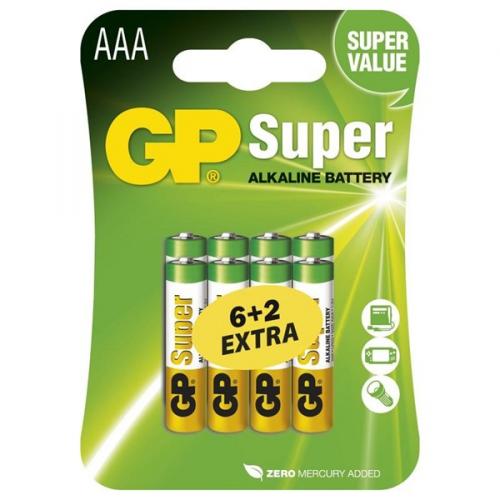 Baterie alkalická GP Super AAA, LR03, blistr 6+2ks