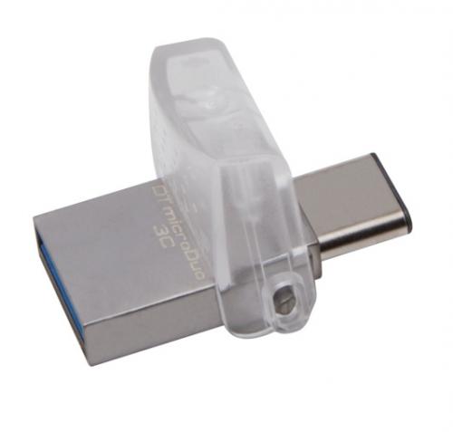 USB Flash Kingston DataTraveler MicroDuo 3C 32GB OTG USB-C/USB 3.1 stříbrný
