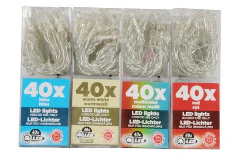 Befree 40 LED, 4m, řetěz, 3xAA, barevné varianty