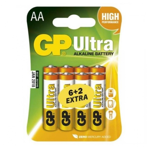 Baterie alkalická GP Ultra AA, LR06, blistr 6+2 ks