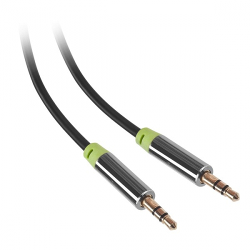 GoGEN Jack 3,5mm, 1,5m, pozlacené konektory černý (GOGJACK150MM01)