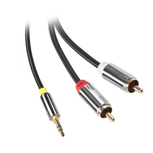 GoGEN Jack 3,5mm / 2x Cinch, 1,5m, pozlacené konektory černý