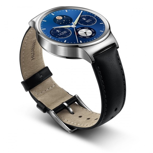 Huawei Watch W1 Stainless Steel + Black Leather