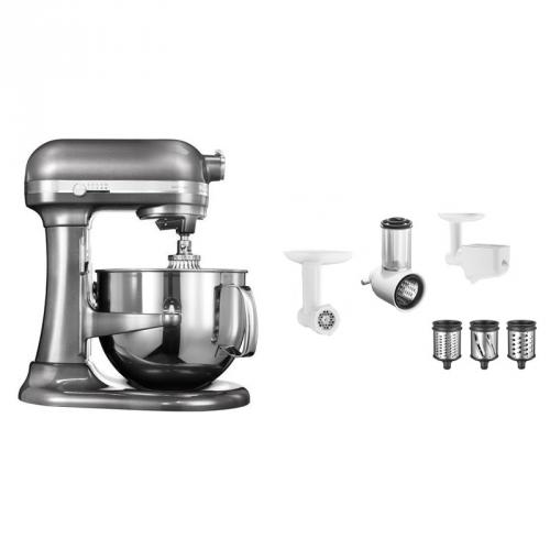 Set (Příslušenství k robotům KitchenAid 5KR7SB) + (Příslušenství k robotům KitchenAid FPPC) + (Kuchyňský robot KitchenAid Artisan 5KSM7580XEMS)