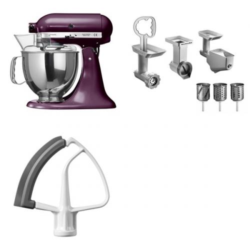 Set (Příslušenství k robotům KitchenAid KB3SS) + (Příslušenství k robotům KitchenAid 5KFE5T) + (Příslušenství k robotům KitchenAid FPPC) + (Kuchyňský robot KitchenAid Artisan 5KSM150PSEBY)