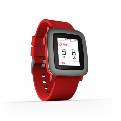 Pebble Time Smartwatch červená