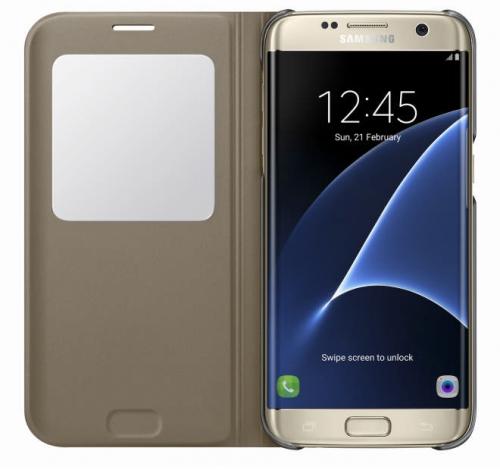 Fotografie Samsung S-View pro Galaxy S7 Edge (EF-CG935P) zlaté (EF-CG935PFEGWW)