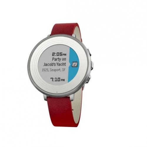 Pebble Time Round Smartwatch, 14mm pásek stříbrné/červené