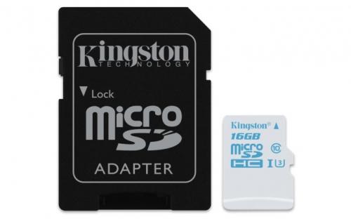Kingston MicroSDHC 16GB UHS-I U3 (90R/45W) + adapter