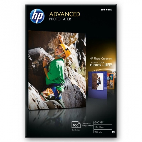 HP Advanced Photo Paper, lesklý, 10 x 15cm, bez okraj, 100 listů, 250 g/m2