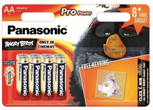 Fotografie Baterie alkalická Panasonic Pro Power AA, LR6, klíčenka Angry Birds, blistr 8ks