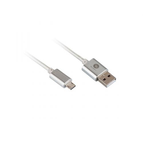 GoGEN USB/micro USB, 1m, oplétáný stříbrný (MICUSB 100 MM05)