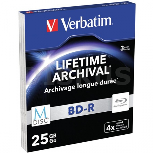 Verbatim BD-R M-Disc 25GB, 4x, printable, slim box, 3ks