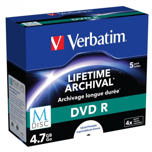 Verbatim DVD-R M-Disc 4,7GB, 4x, printable, jewel box, 5ks