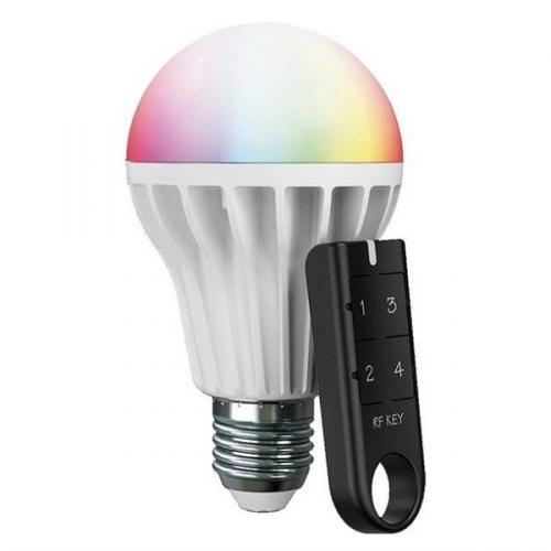 Set RF RGB LED žárovka s paticí E27 + klíčenka RF Key