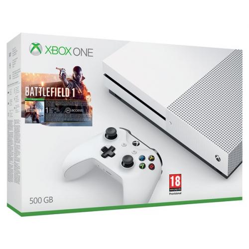 Microsoft Xbox One S 500 GB + Battlefield 1 bílá