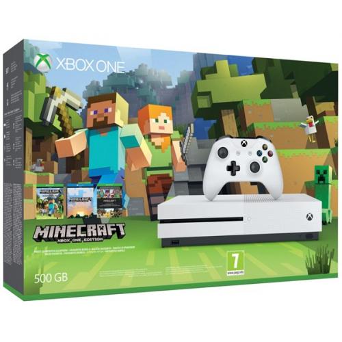 Microsoft Xbox One S 500 GB + sada Minecraft bílá