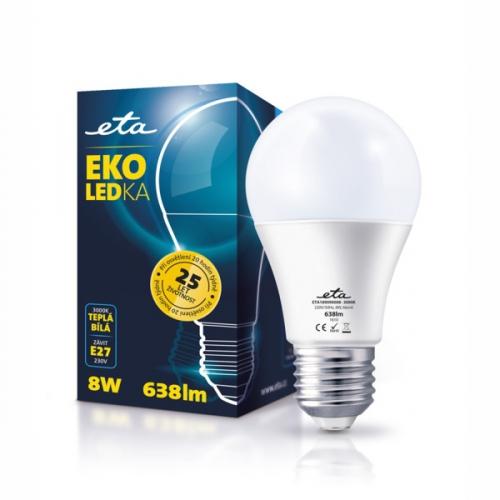 ETA EKO LEDka klasik, 8W, E27, teplá bílá bílá