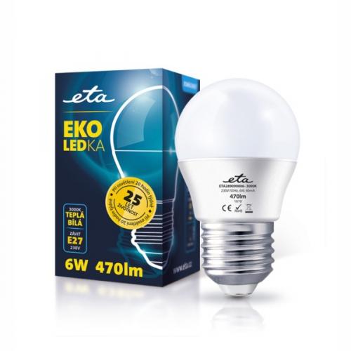 ETA EKO LEDka mini globe, 6W, E27, teplá bílá bílá