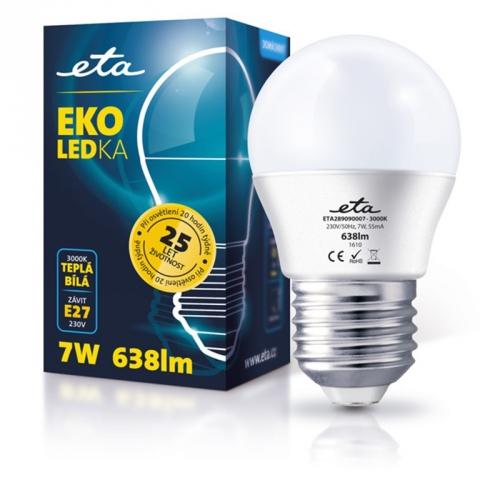 ETA EKO LEDka mini globe, 7W, E27, teplá bílá bílá