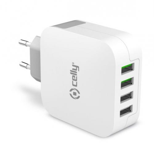 Nabíječka do sítě Celly Turbo, 4x USB, 4,8A bílá