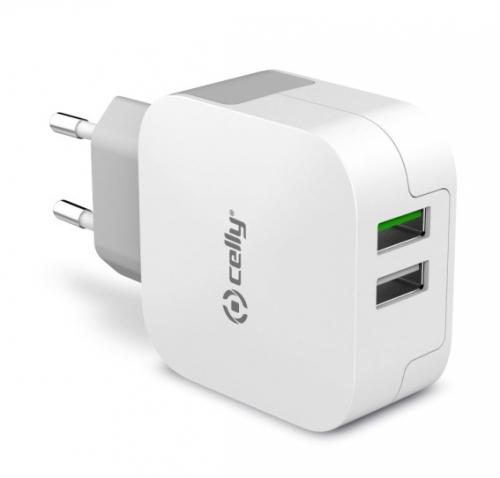 Nabíječka do sítě Celly Turbo, 2x USB, 3,4A bílá