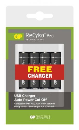 GP Pro AA, HR6, 2000mAh, Ni-MH, 4ks + USB nabíječka