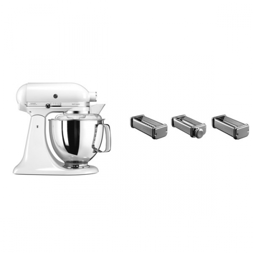 Set (Přísl. k robotům - nástavec na těstoviny KitchenAid 5KSMPRA) + (Kuchyňský robot KitchenAid Artisan 5KSM175PSEWH)