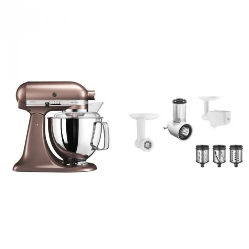 Set (Příslušenství k robotům KitchenAid 5KSMFPPC) + (Příslušenství k robotům KitchenAid 5FPPC) + (Kuchyňský robot KitchenAid Artisan 5KSM175PSEAP)