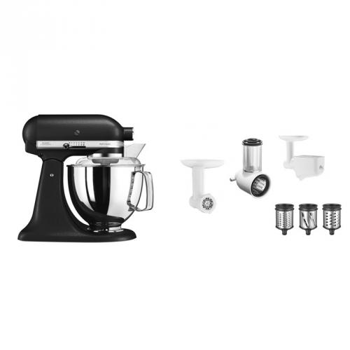 Set (Příslušenství k robotům KitchenAid 5KSMFPPC) + (Příslušenství k robotům KitchenAid 5FPPC) + (Kuchyňský robot KitchenAid Artisan 5KSM175PSEBK)