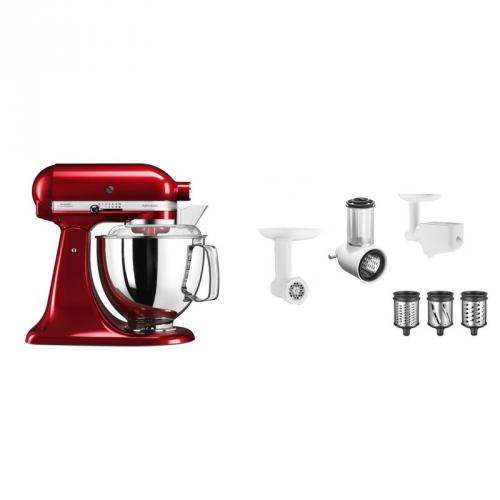 Set (Příslušenství k robotům KitchenAid 5FPPC) + (Kuchyňský robot KitchenAid Artisan 5KSM175PSECA)