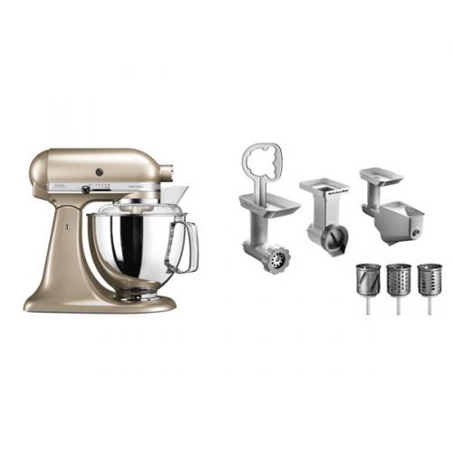 Set (Příslušenství k robotům KitchenAid 5KSMFPPC) + (Kuchyňský robot KitchenAid Artisan 5KSM175PSECZ)