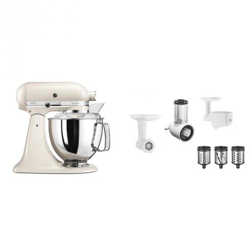 Set (Příslušenství k robotům KitchenAid 5KSMFPPC) + (Kuchyňský robot KitchenAid Artisan 5KSM175PSELT)