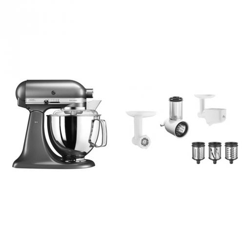 Set (Příslušenství k robotům KitchenAid 5KSMFPPC) + (Příslušenství k robotům KitchenAid 5FPPC) + (Kuchyňský robot KitchenAid Artisan 5KSM175PSEMS)