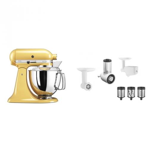 Set (Příslušenství k robotům KitchenAid 5FPPC) + (Kuchyňský robot KitchenAid Artisan 5KSM175PSEMY)