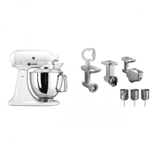 Set (Příslušenství k robotům KitchenAid 5KSMFPPC) + (Kuchyňský robot KitchenAid Artisan 5KSM175PSEWH) + (Příslušenství k robotům KitchenAid 5FPPC)