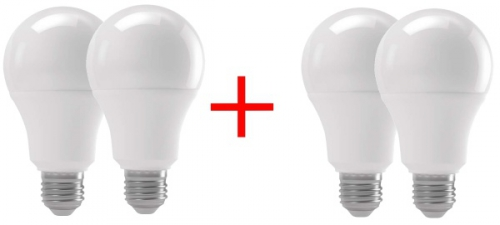 Set (4x Žárovka LED EMOS klasik, 15W, E27, teplá bílá)