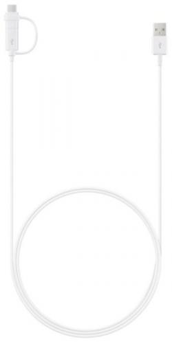 Samsung MicroUSB, 1,5m + redukce USB-C bílý