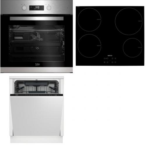 Set (Indukční varná deska Beko HII 64400 AT) + (Myčka nádobí Beko DIN 28221) + (Trouba Beko BIM 22302 X)