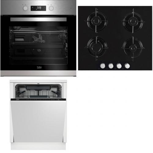 Set (Trouba Beko BIM 22302 X) + (Plynová varná deska Beko HISG 64220 S) + (Myčka nádobí Beko DIN 28221)