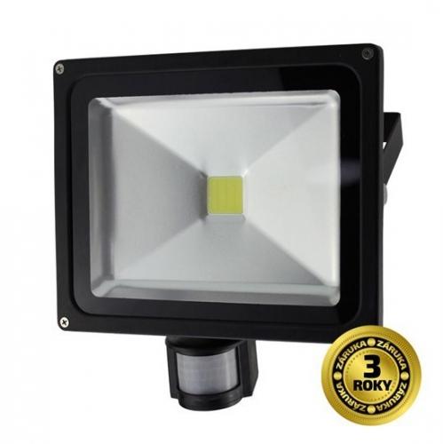 Solight 30W, studená bílá, se senzorem černý