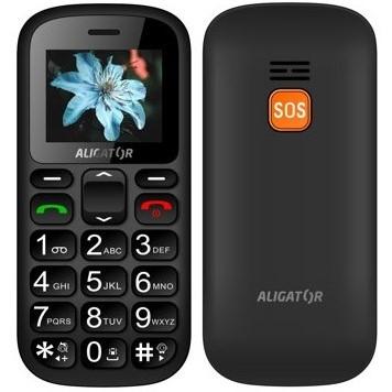 Aligator A321 Senior Dual SIM černý/šedý + dárek